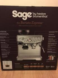 Espresso Coffee Machine with Integrated Burr Grinder - Brushed Steel