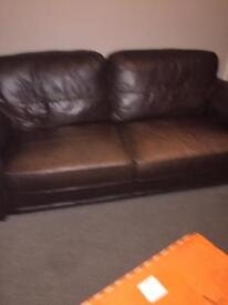 Brown Leather Sofa with one chair