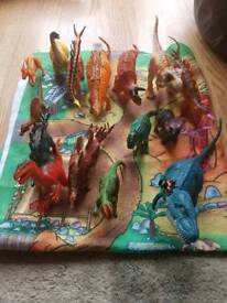 Selection of dinosaurs and play mat