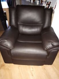 2 x Chocolate Brown Faux Leather Armchairs