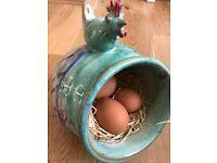 Original Canterbury Pottery ceramic egg-holder, egg cups, plate