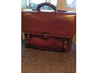 Briefcase - men's brown Italian leather briefcase, including laptop compartment, by Gianni Conti