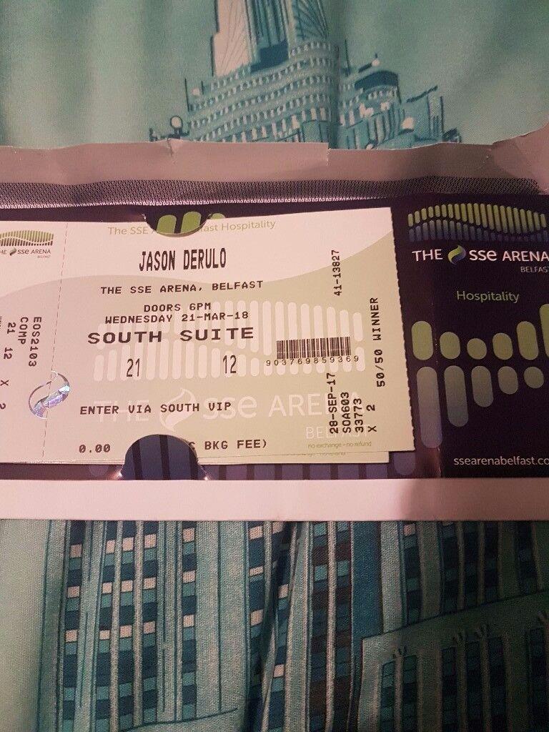 Jason Derulo (12 tickets) vip suite sse arena Belfast
