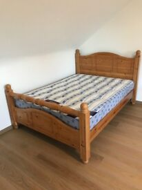 """Solid Pine 4' 6"""" Double Bed Frame + Orthopaedic Mattress"""