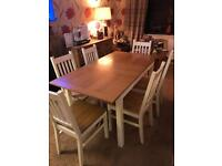 Solid wood extending table 6 chairs