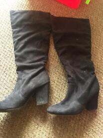 Black suede knee high boots size 5