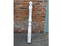 Antique white painted pine newel post.