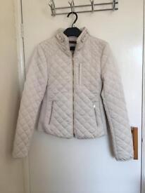Small Quilted White/Cream Zara Jacket/Coat