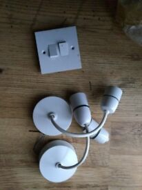 Free light fittings and wall switch