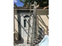 Triple Section Aluminium Extension Ladders, used 5.88m
