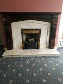 Complete fireplace Marble hearth and mahogany surround