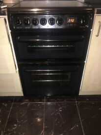 HotPoint Electric Oven, 60x60cm Main oven/ top oven & grill, 4 ring hob Open to Offers,