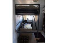 High rise grey metal single cabin bed