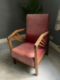 Pink Art Deco Reclining Arm Chair
