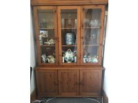 Pine display cabinet with cupboards below