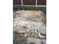 Free rubble from broken up concrete base