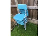 REMPLOY 4 VINTAGE CHILDRENS STACKABLE PLASTIC METAL CHAIRS