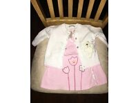 Baby girl newborn pink outfit, babygrow, scratch mitts, dress and cardigan as new