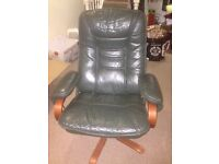 Green Leather reclining chair and stool