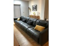 Dark grey leather recliner sofa