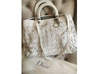 Authentic-Christian-Dior-White-Woven-Lambskin-Leather Avenue Tote Bag