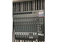 Mackie 16 channel professional mixer deck plus other music equipment