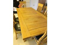 Solid wood extendable table + 6 high backed chairs