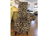 Zebra Print Velvet Crystal Inserts Chair