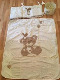 Cot quilt, bumper &a light shade ( love so much)
