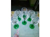 Lovely set of six vintage hock wine glasses, emerald green stems.