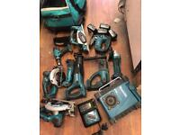 Makita joblot set 18v cordless lxt 4.0ah jigsaw radio charger planer