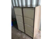 4 DRAWER FILING CABINETS - BROWN & CREAM (QTY 2)