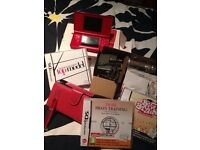Red Nintendo DS Lite Starter Pack Big Brain Academy Top Model Games Charger Case