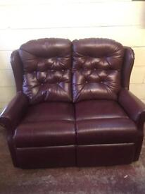 Burgundy leather high back 2 seater settee