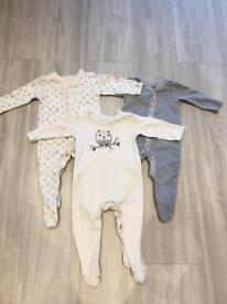 M&S sleepsuits 6-9 months unisex girls or boys cream grey and white