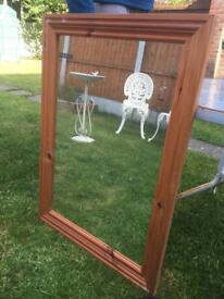 2 x pine surround mirrors