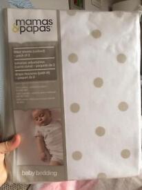 BNWT Mama & Papa cot sheets (New)