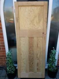 Original 1930s solid wood internal door - stripped