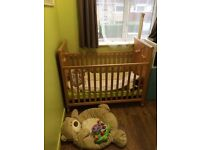 Solid Pine Wood Cot with Mattress
