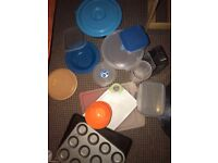 Loads of pans, plates, cups, boxes, toaster, kettle, bins, all good condition, £1 each, £10 for all