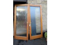 Free. 2 Glazed doors in solid teak/iroko. Coldingham nr Eyemouth