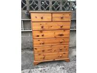 Solid pine chest of drawers ideal shabby chic & free local delivery @ £85