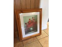 Classic Red Poppy Flower Oil Painting - Pine Framed