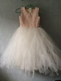 Ball/party gown jewel knee length satin effect & tulle & embroidery flower girl dress Age 10-11 yrs
