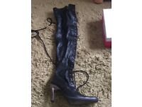 New Rock thigh high leather boots