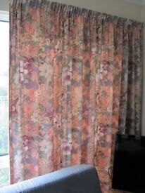 Curtains full length wide set of 4 to cover 16ft wide by 6ft 8in high
