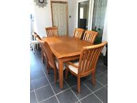 Solid Pine Table and 6 Chairs (extendable)