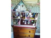 LARGE DOLLS HOUSE FURNITURE AND DOLL INCLUDED