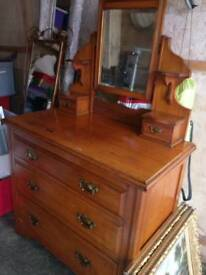 Dresser with drawers and mirror £50