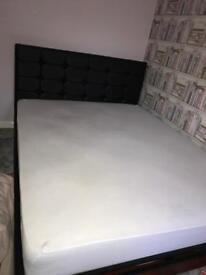 King size leather bed & brand new mattress